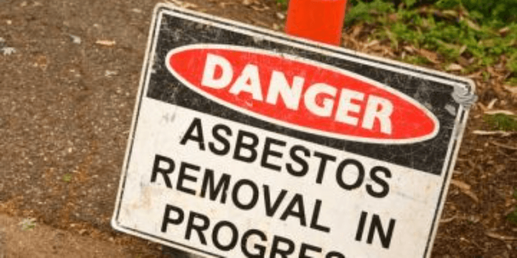 "sign that reads ""Danger Asbestos Removal In Process"""