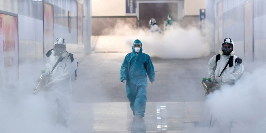 Binghamton, New York school being disinfected for Flu and Coronavirus.